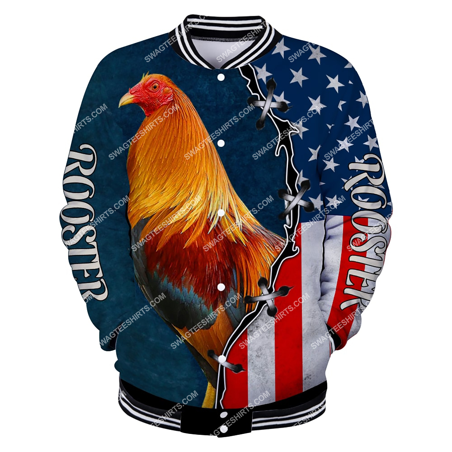the american flag and rooster chicken full printing baseball jacket 1