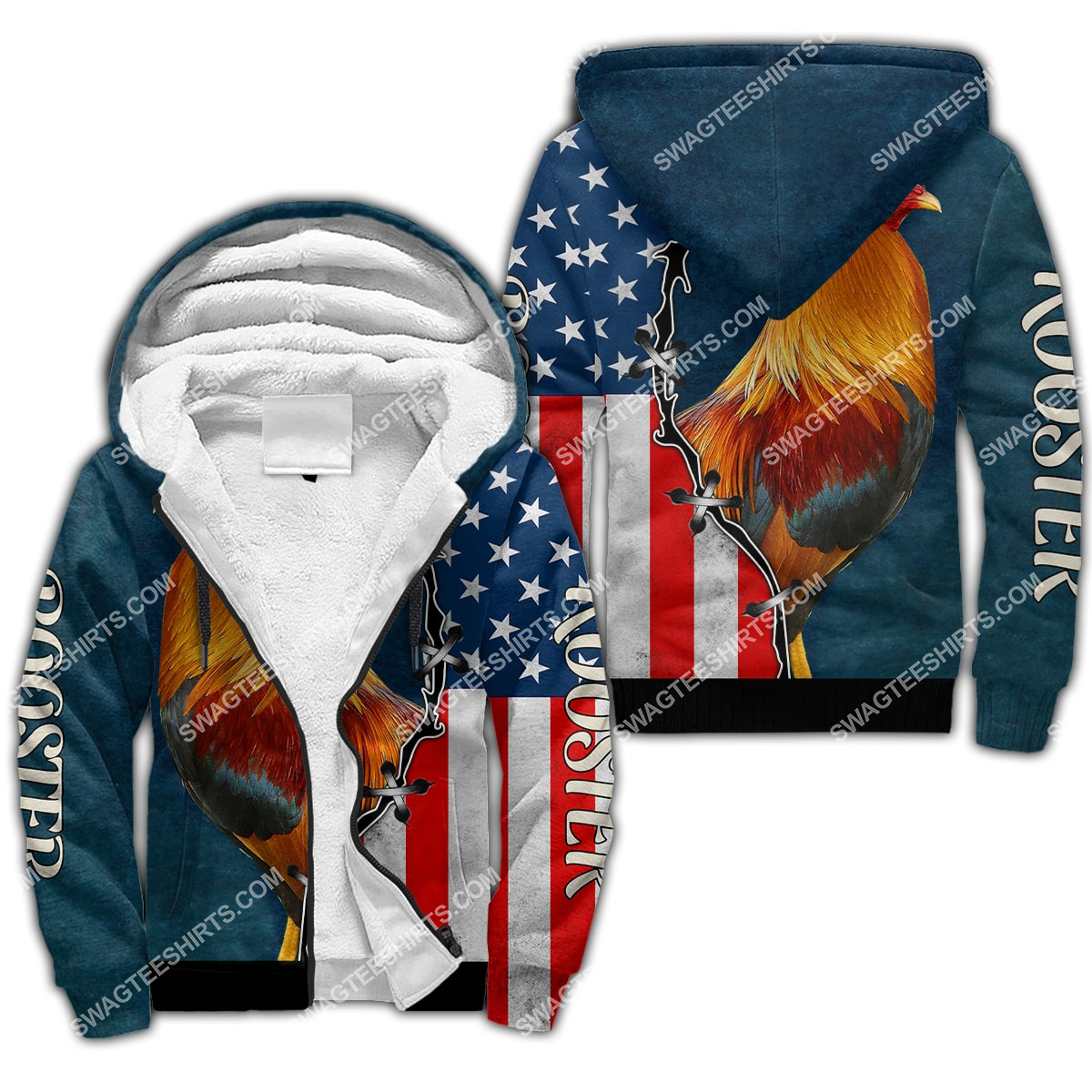the american flag and rooster chicken full printing fleece hoodie 1
