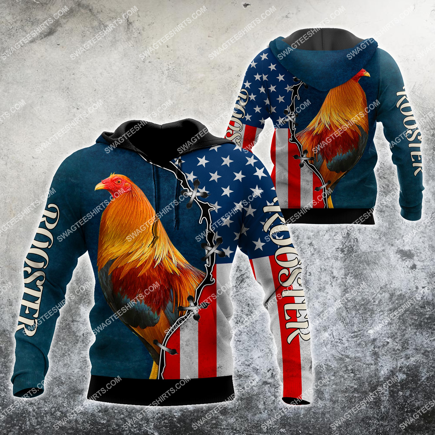 the american flag and rooster chicken full printing hoodie 1