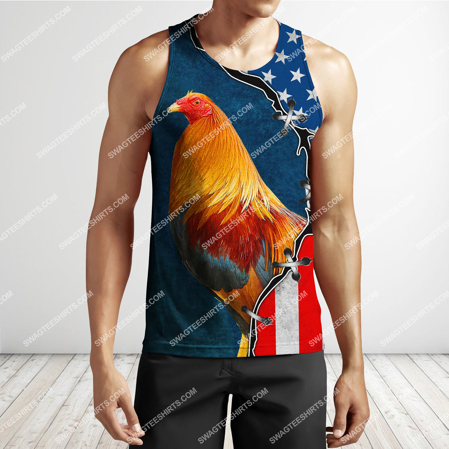 the american flag and rooster chicken full printing tank top 1
