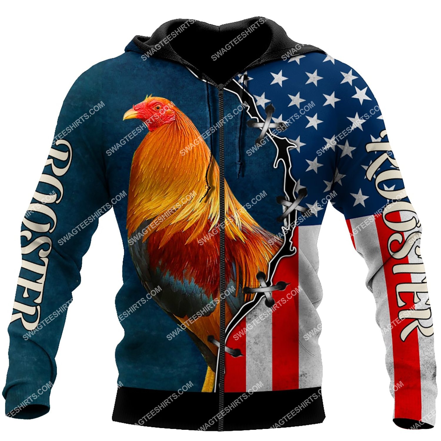 the american flag and rooster chicken full printing zip hoodie 1
