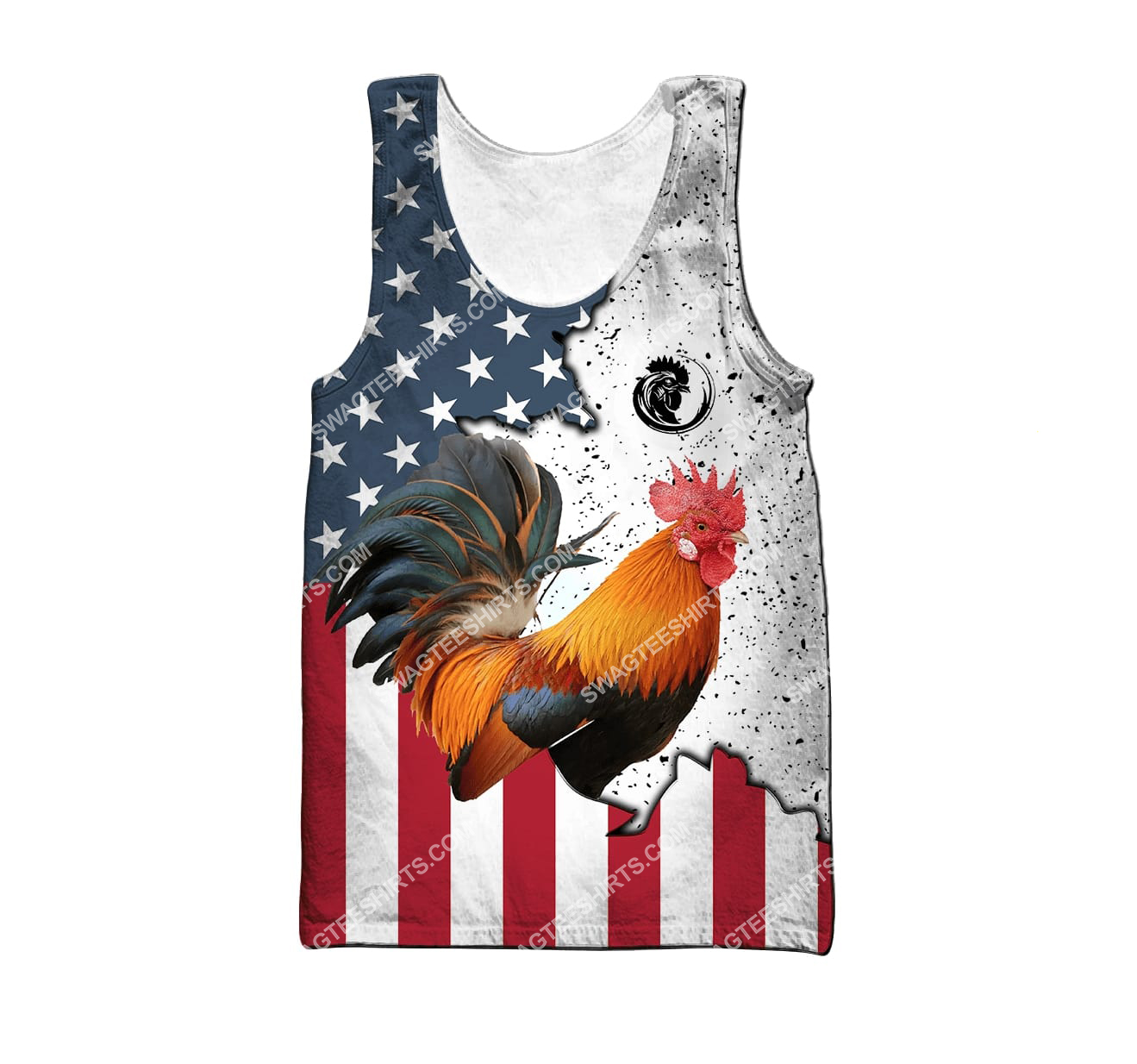 the american flag and rooster full printing tank top 1