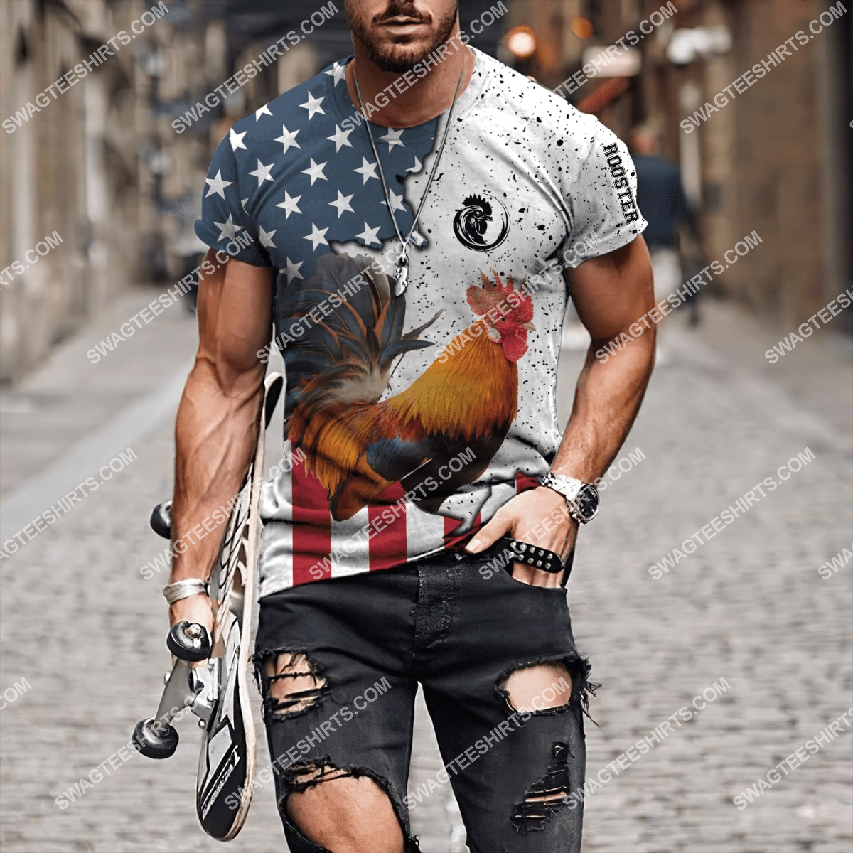 the american flag and rooster full printing tshirt 1