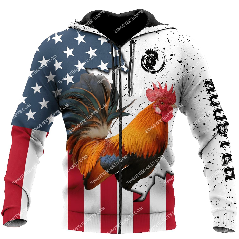 the american flag and rooster full printing zip hoodie 1