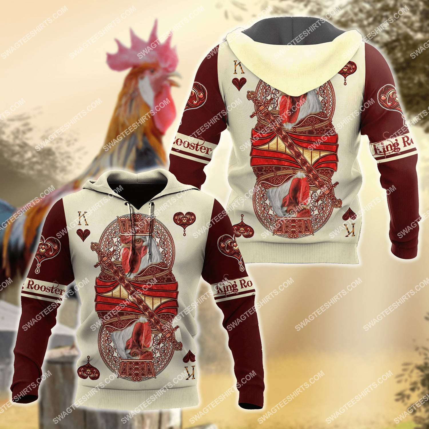 the king poker rooster chicken full printing hoodie 1