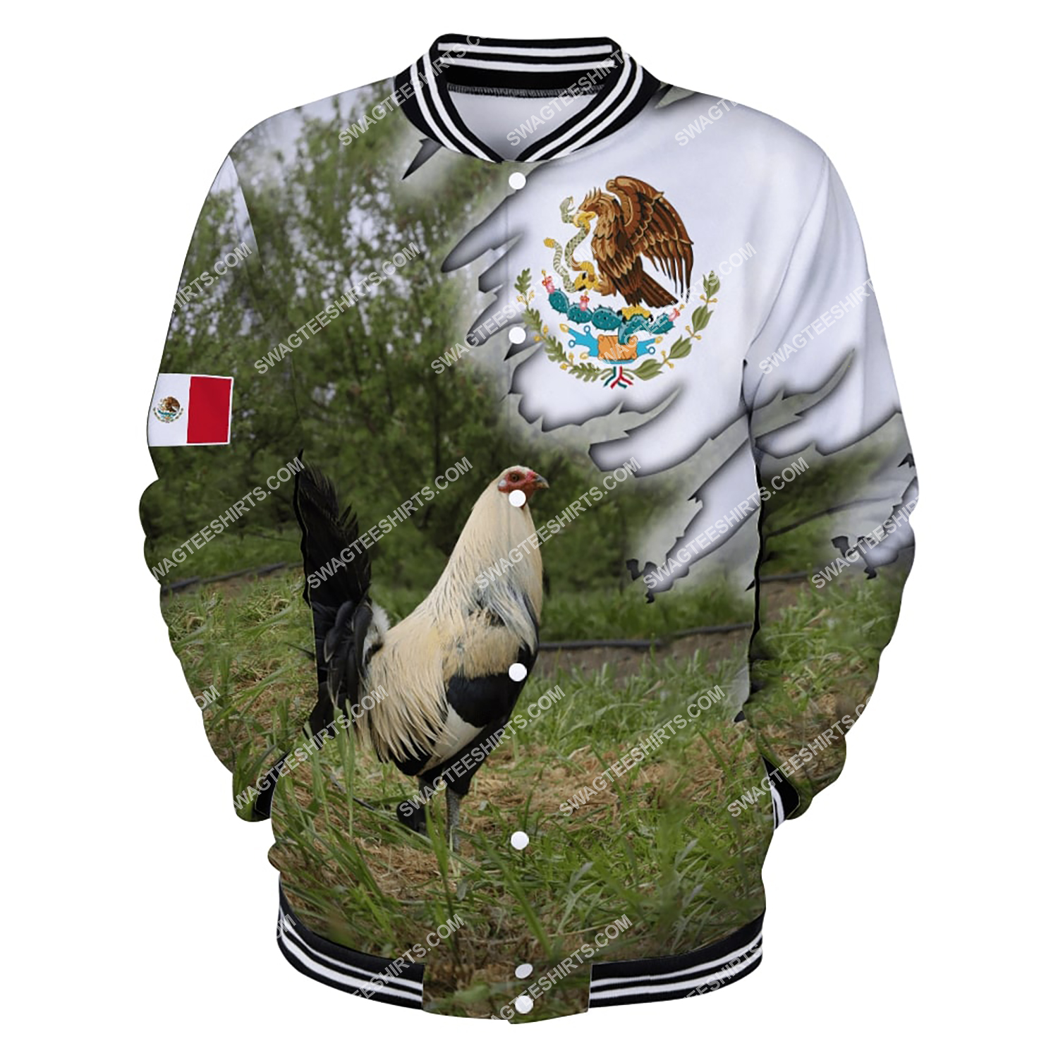 the mexican flag and rooster full printing baseball jacket 1