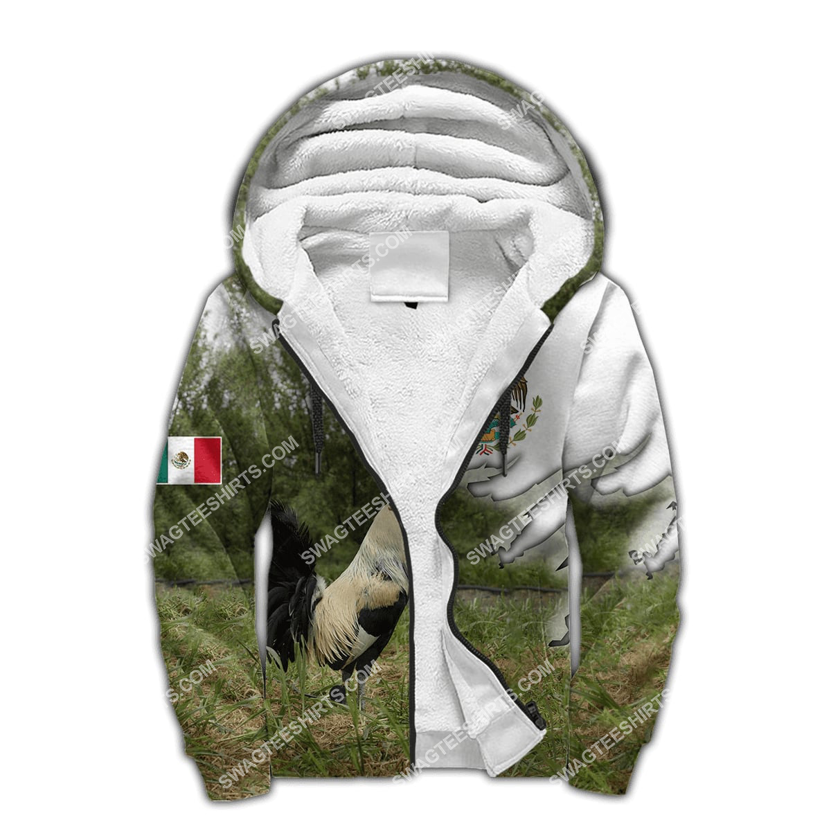 the mexican flag and rooster full printing fleece hoodie 1