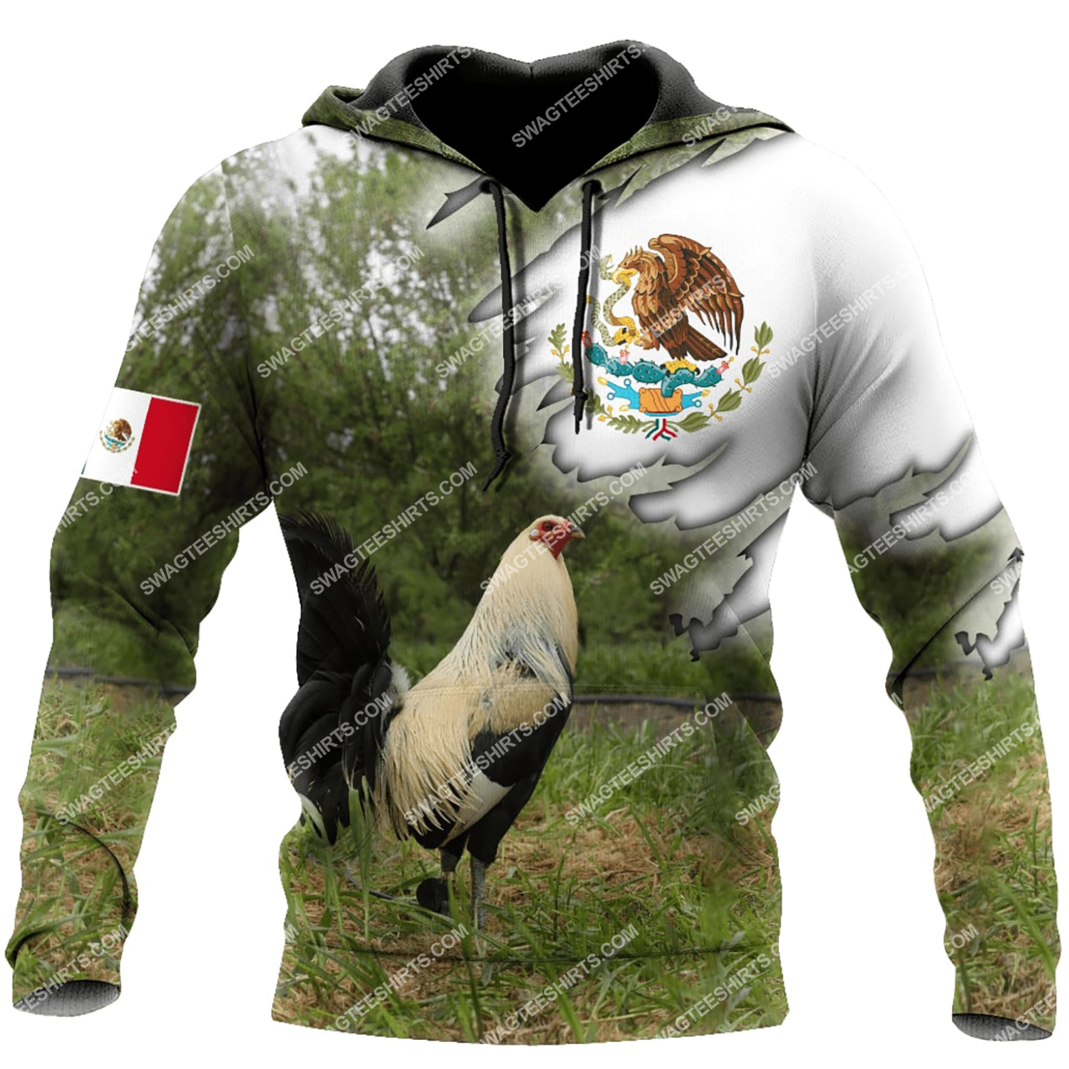 the mexican flag and rooster full printing hoodie 1