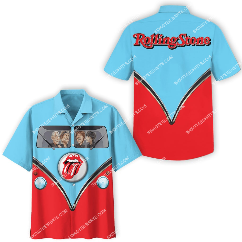 the rolling stones vintage all over print hawaiian shirt 3(1)