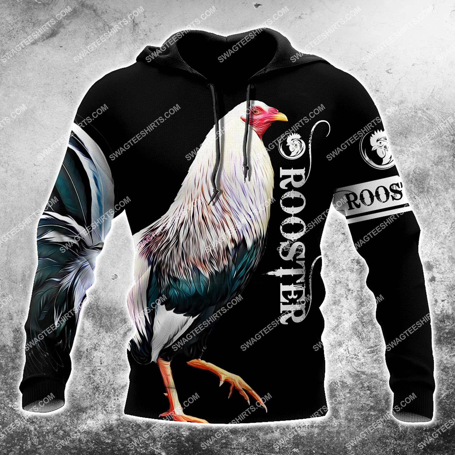the rooster chicken all over printed hoodie 1