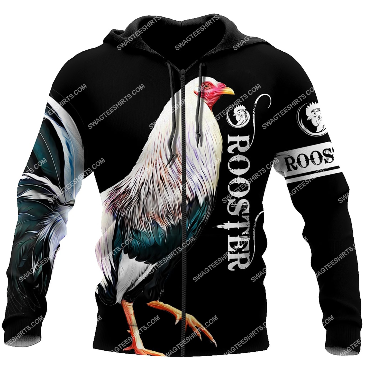 the rooster chicken all over printed zip hoodie 1