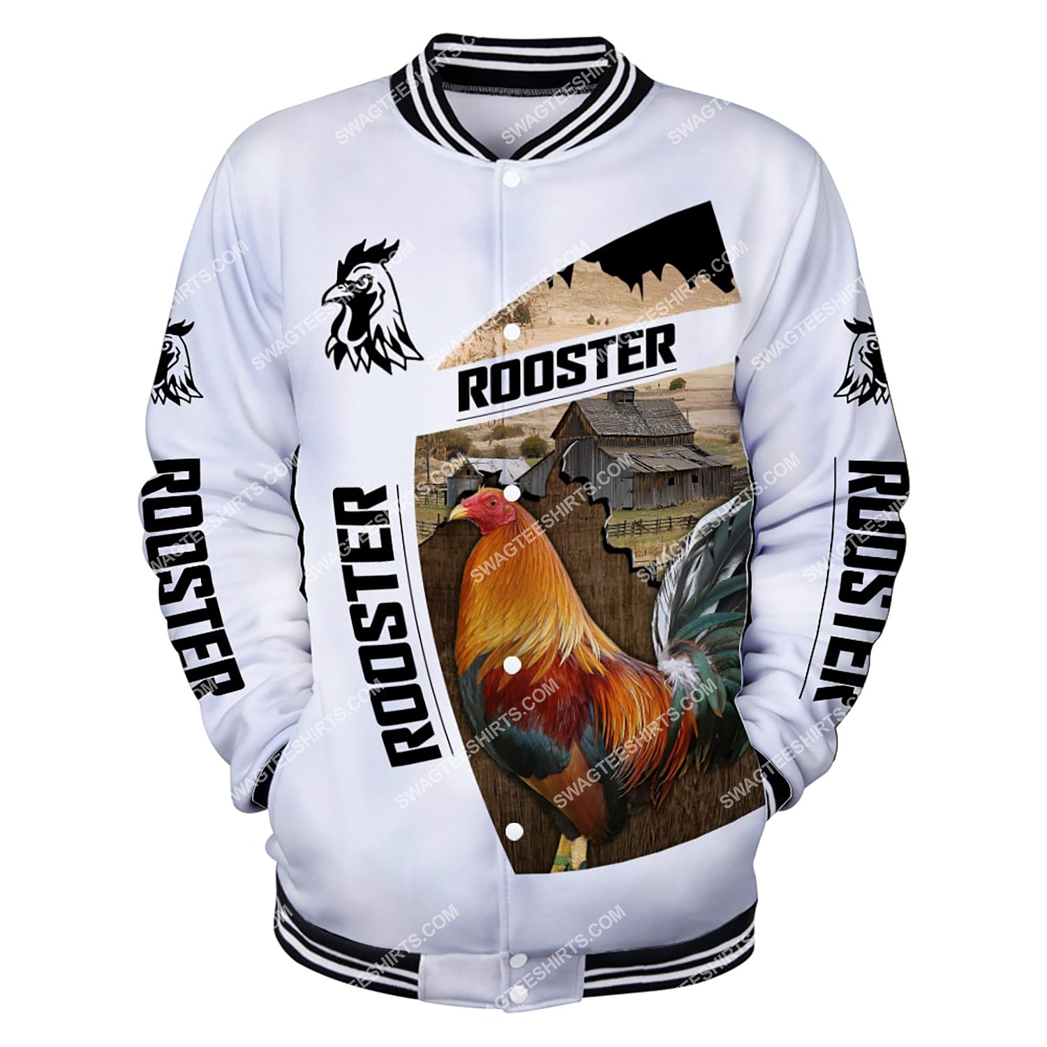 the rooster chicken and farm life full printing baseball jacket 1