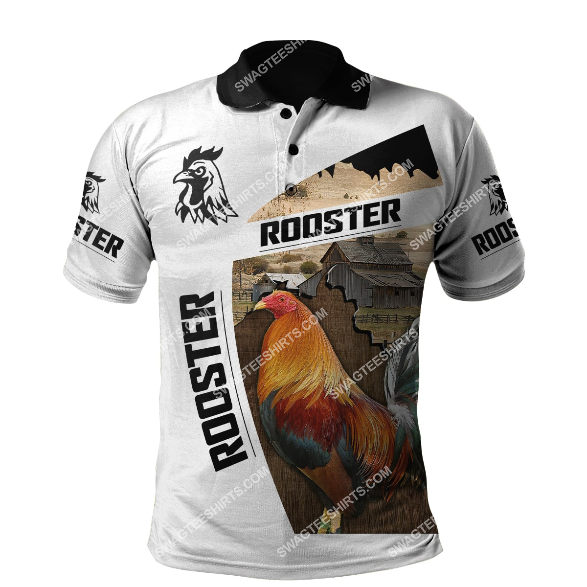 the rooster chicken and farm life full printing polo shirt 1