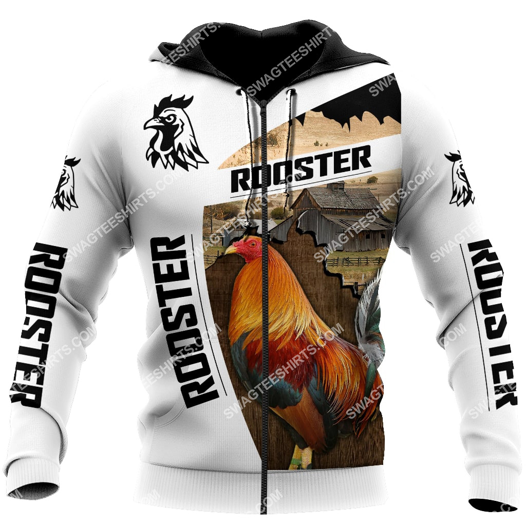 the rooster chicken and farm life full printing zip hoodie 1