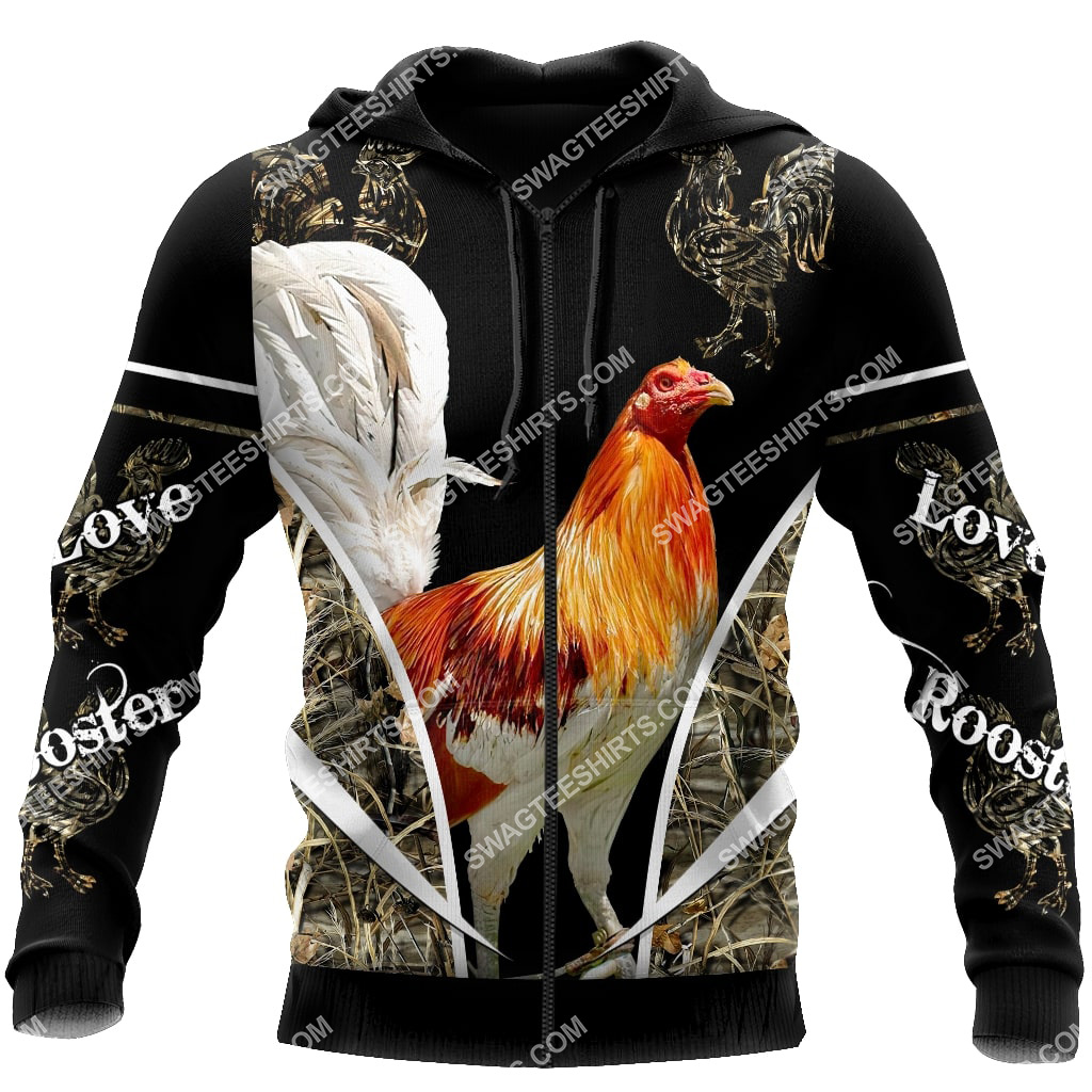 the rooster chicken forest full printing zip hoodie 1