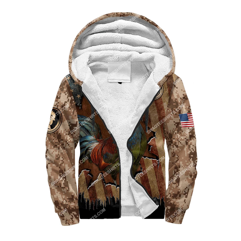 vintage the rooster and american flag full printing fleece hoodie 1