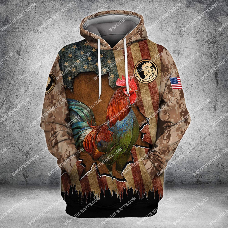 vintage the rooster and american flag full printing hoodie 1
