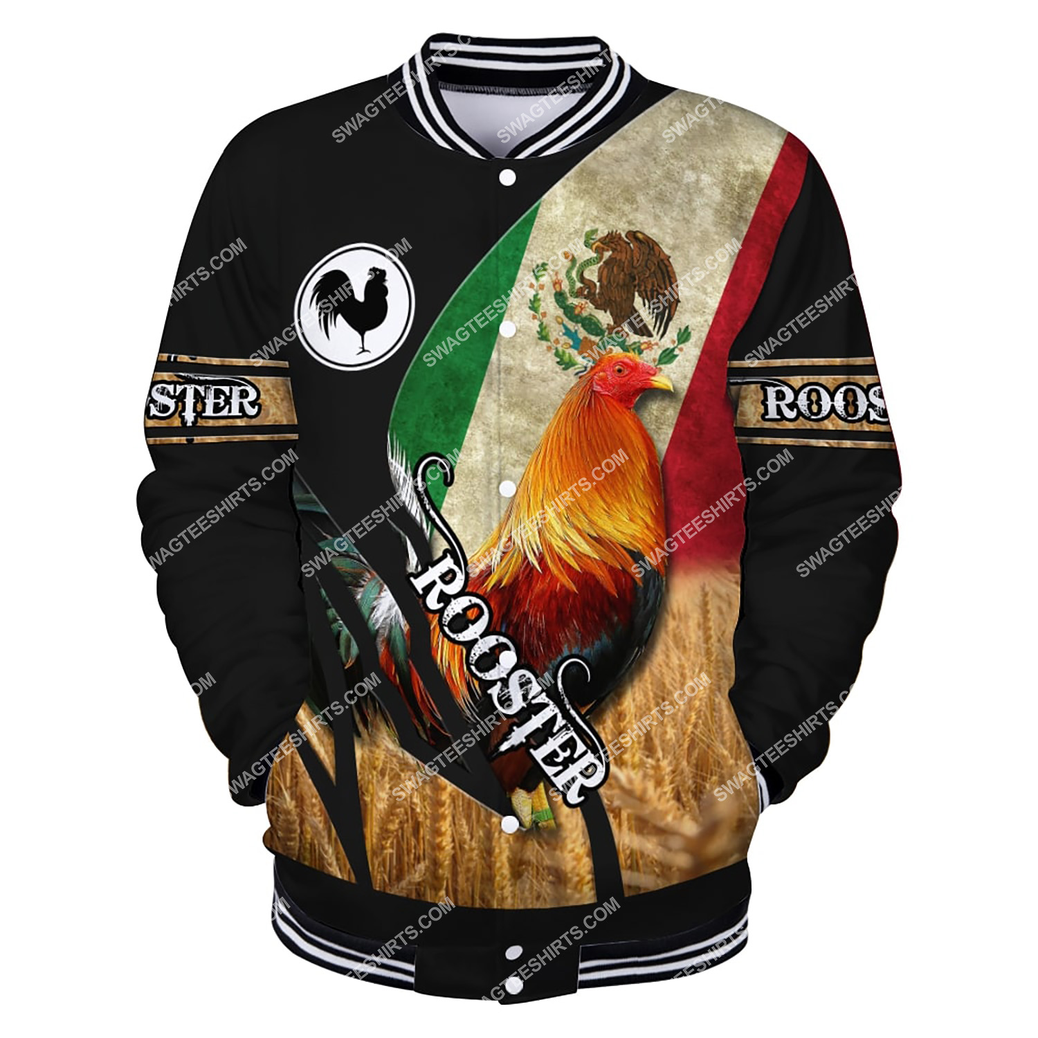 vintage the rooster and mexican flag full printing baseball jacket 1