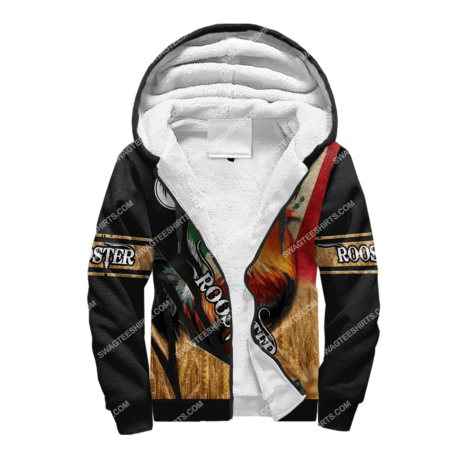 vintage the rooster and mexican flag full printing fleece hoodie 1