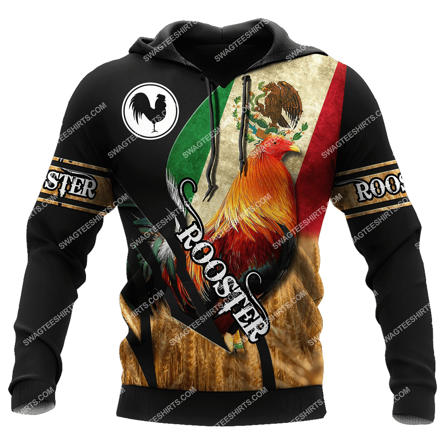 vintage the rooster and mexican flag full printing hoodie 1