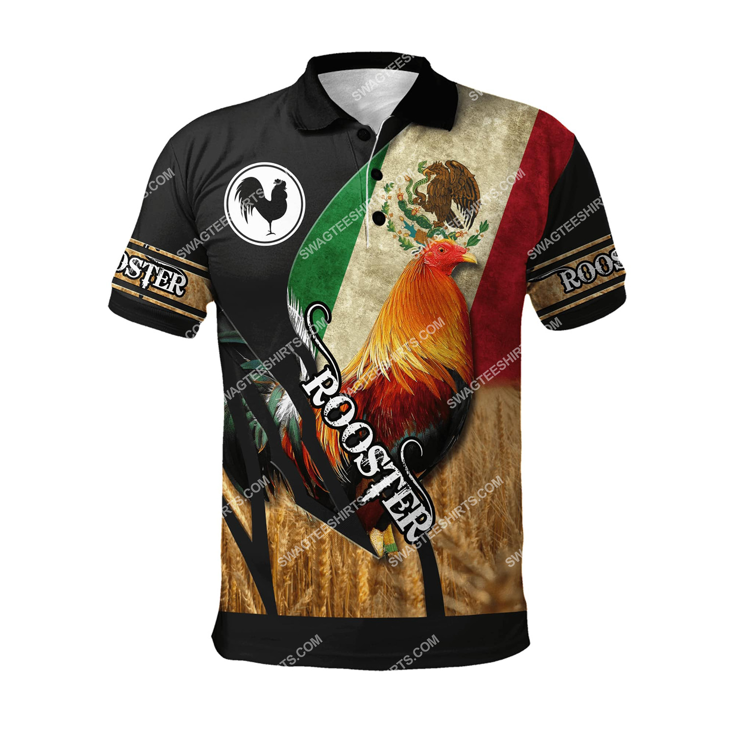 vintage the rooster and mexican flag full printing polo shirt 1