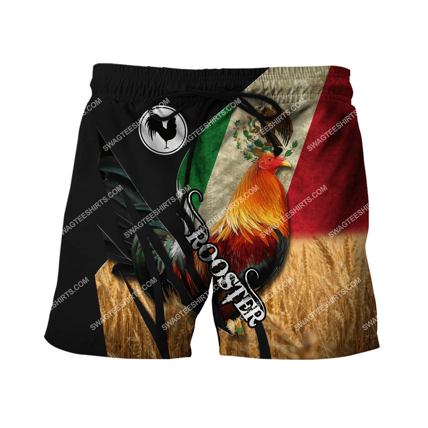 vintage the rooster and mexican flag full printing shorts 1