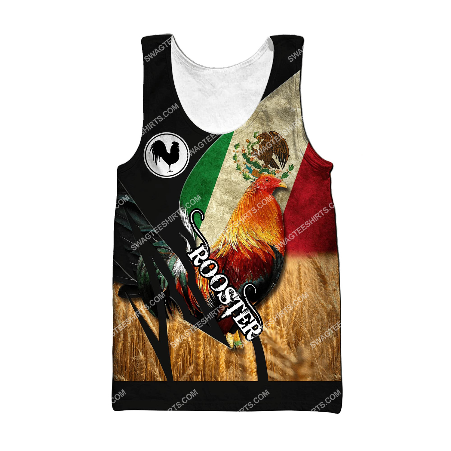 vintage the rooster and mexican flag full printing tank top