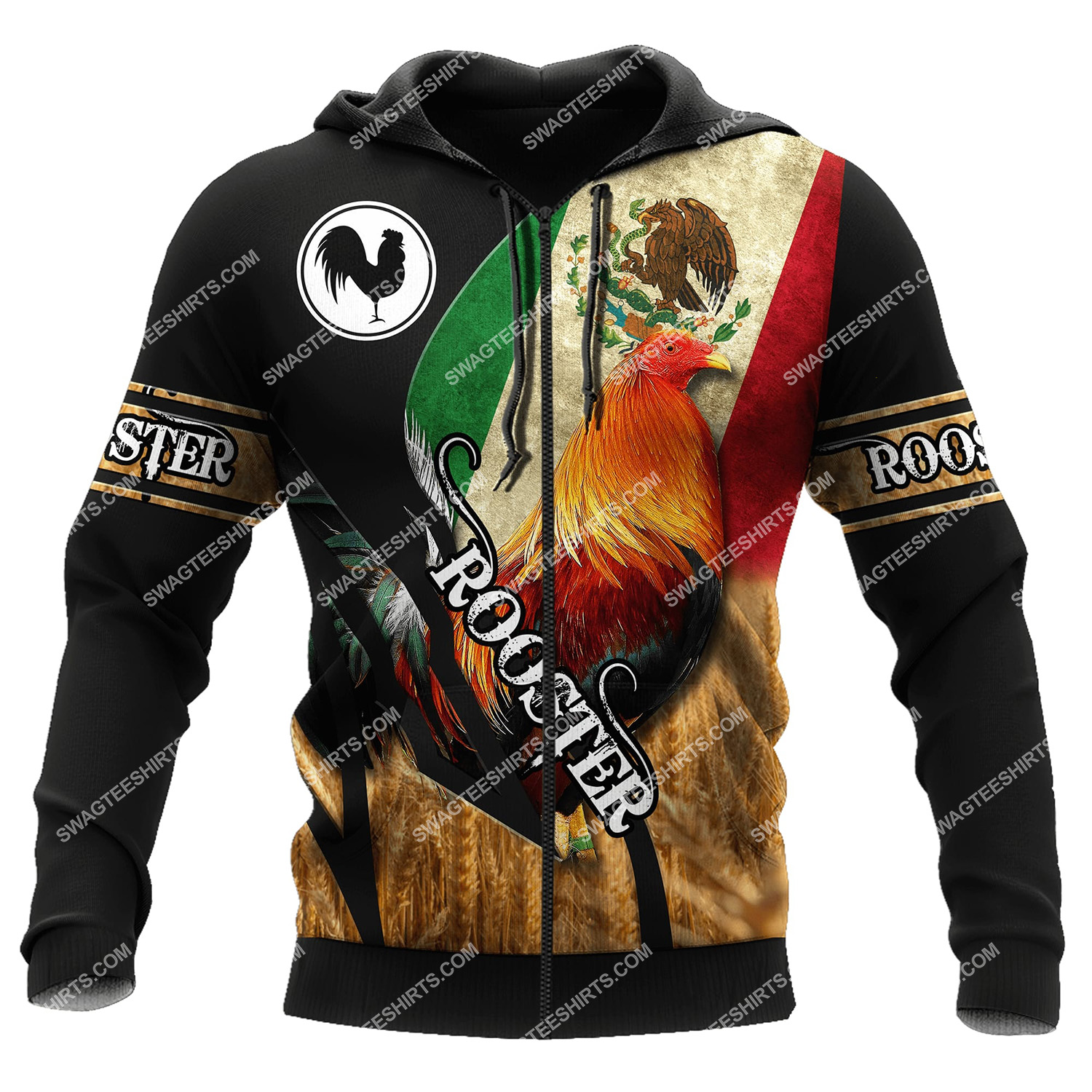 vintage the rooster and mexican flag full printing zip hoodie 1