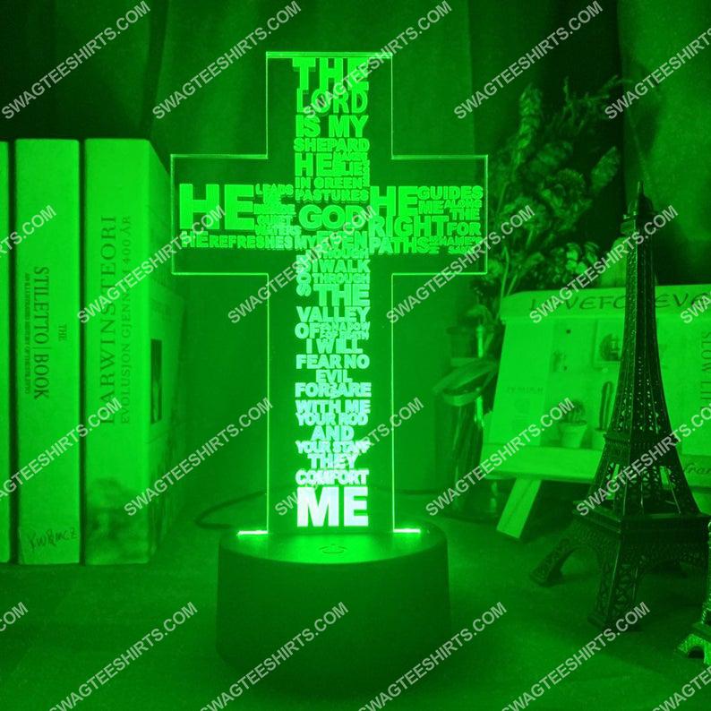 Christian Jesus Cross the Lord is my shepherd 3d night light led 2(1)