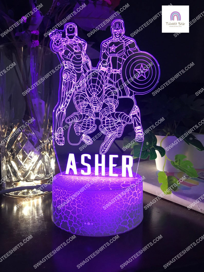 Custom name the avengers marvel comic 3d night light led 4(1)