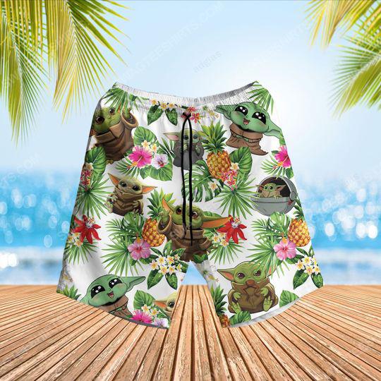 Tropical fruits star wars baby yoda summer vacation beach short 1