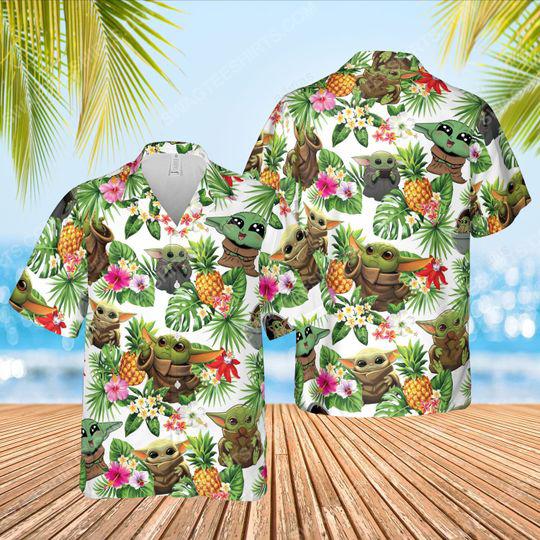 Tropical fruits star wars baby yoda summer vacation hawaiian shirt 1