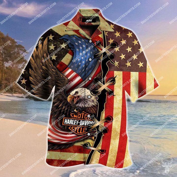 bald eagle american flag harley davidson full printing hawaiian shirt 2(2) - Copy
