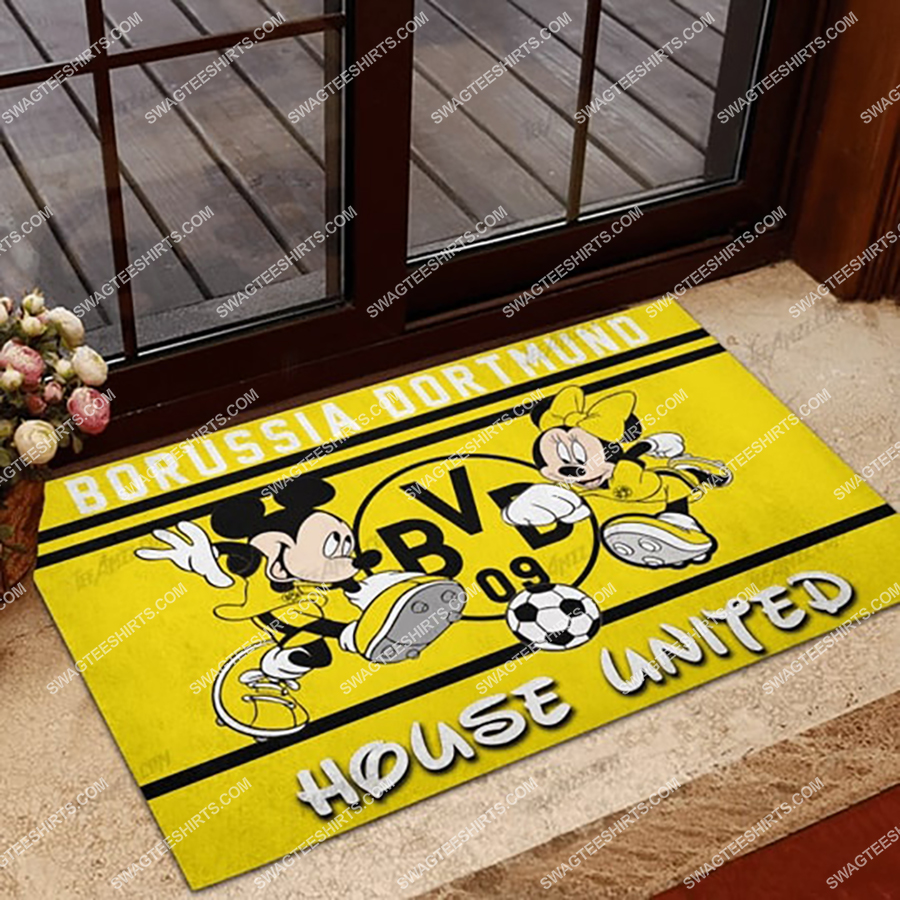 borussia dortmund house united mickey mouse and minnie mouse doormat 1