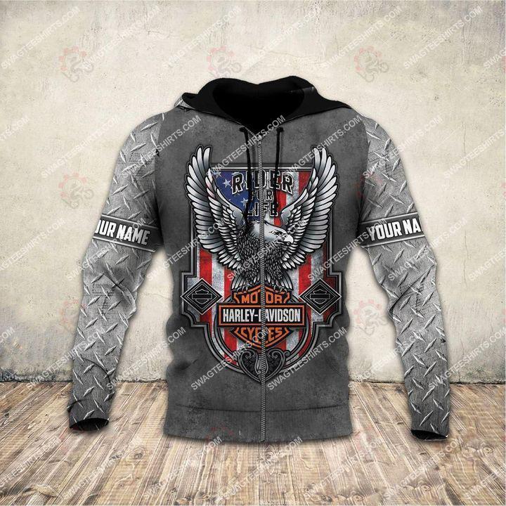 custom name harley davidson motorcycles ride or die full printing zip hoodie 1