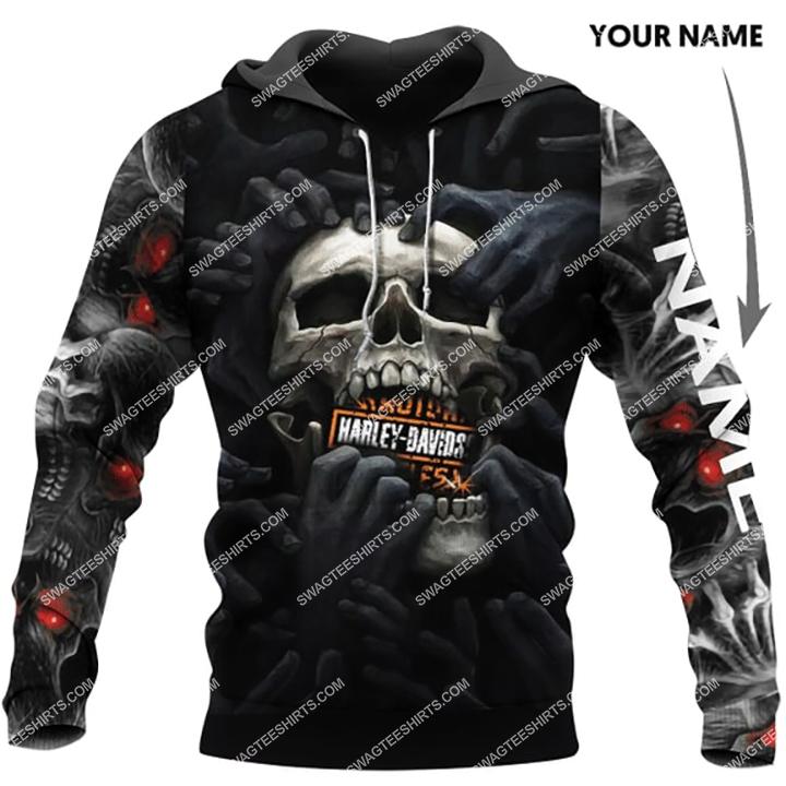 custom name harley davidson scream skull full printing hoodie 1 - Copy (2)