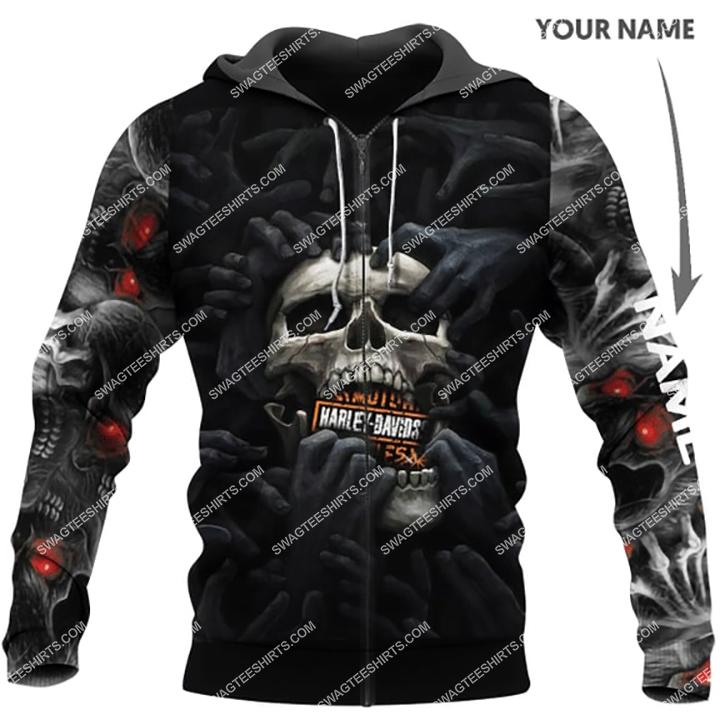 custom name harley davidson scream skull full printing zip hoodie 1