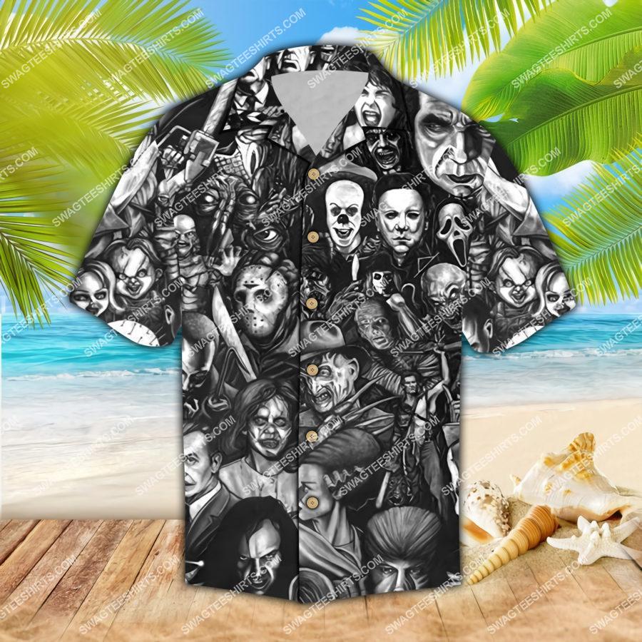 horror movie characters halloween all over print hawaiian shirt 1