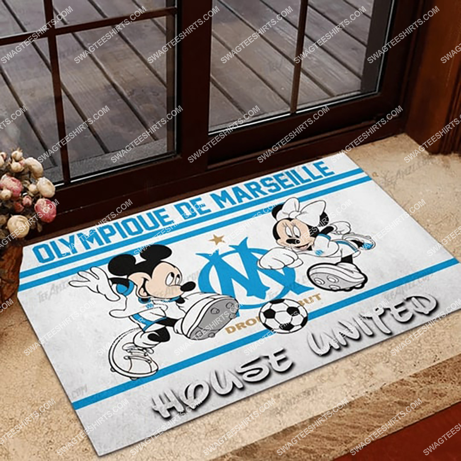 olympique marseille house united mickey mouse and minnie mouse doormat 1 - Copy