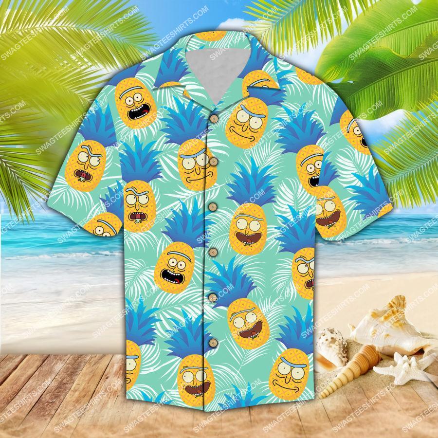 rick and morty pineapples all over print hawaiian shirt 1