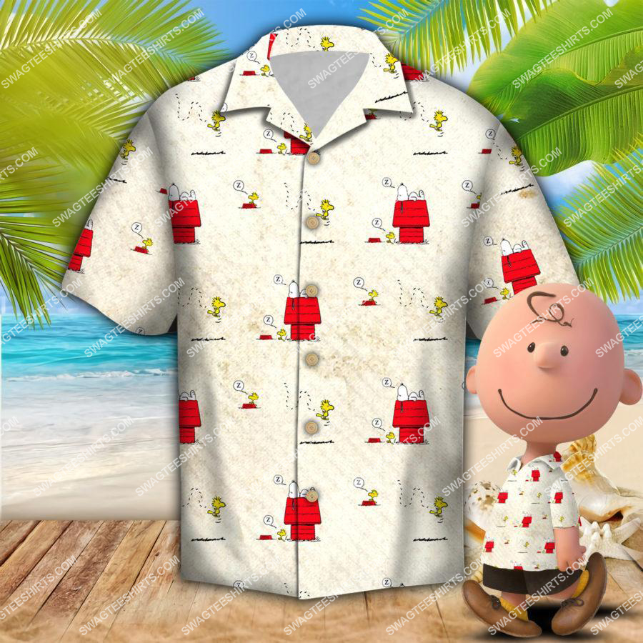 snoopy and woodstock all over print hawaiian shirt 1