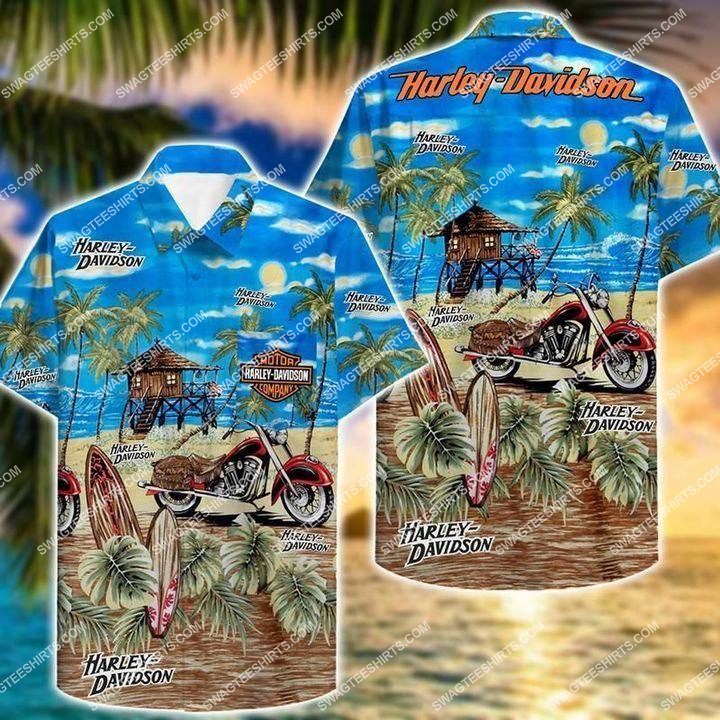 summer beach harley davidson full printing hawaiian shirt 1 - Copy