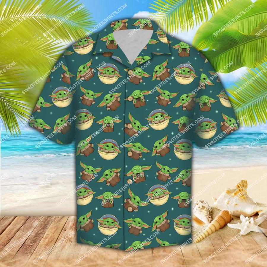 the star wars baby yoda all over print hawaiian shirt 1