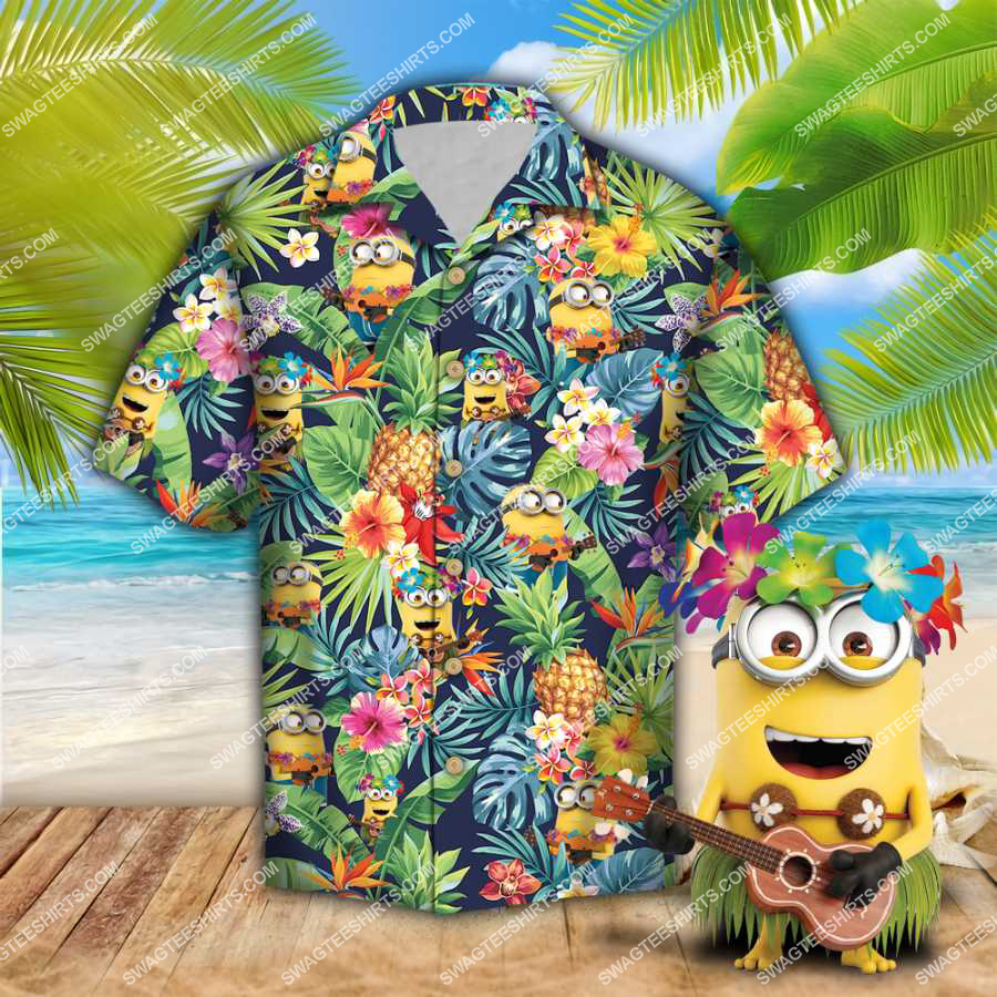tropical minions all over print hawaiian shirt 1