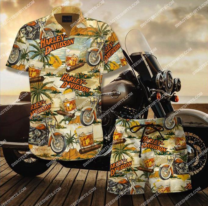 vintage harley davidson and beer full printing hawaiian shirt 1
