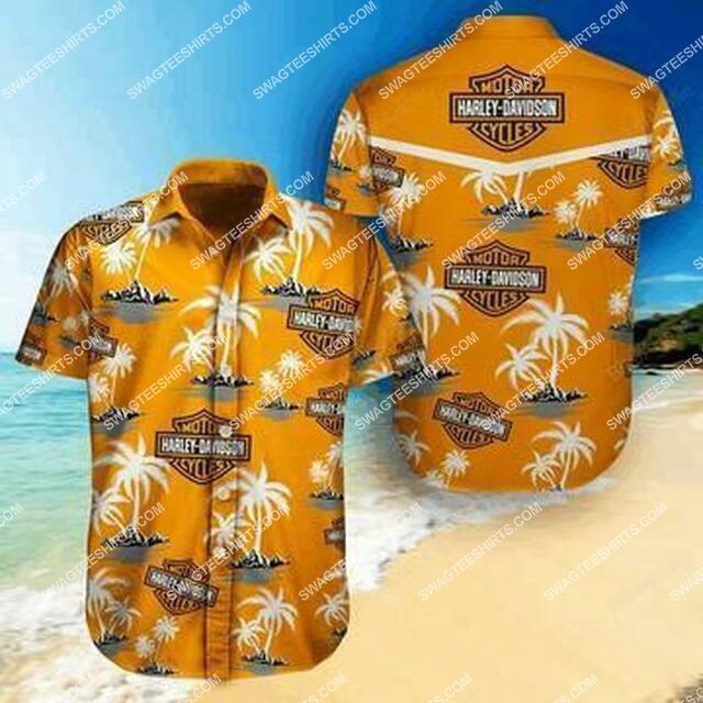 vintage harley davidson motorcycles and palm trees tropical full printing hawaiian shirt 1