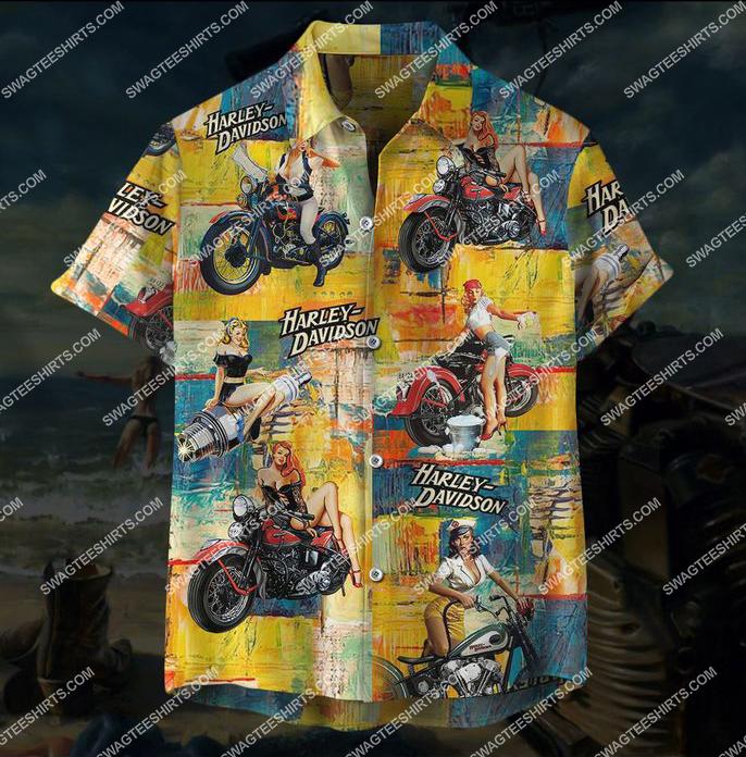 vintage harley davidson motorcycles full printing hawaiian shirt 1