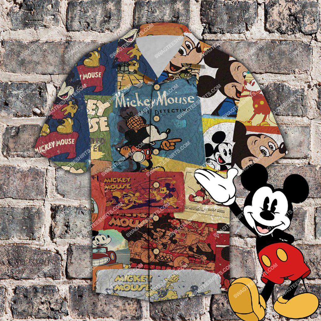 vintage mickey mouse the detective all over print hawaiian shirt 1