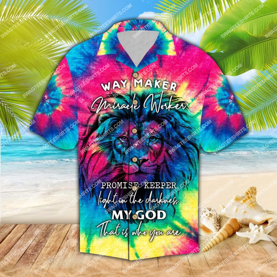 way maker miracle worker promise keeper light in the darkness hawaiian shirt 1 - Copy