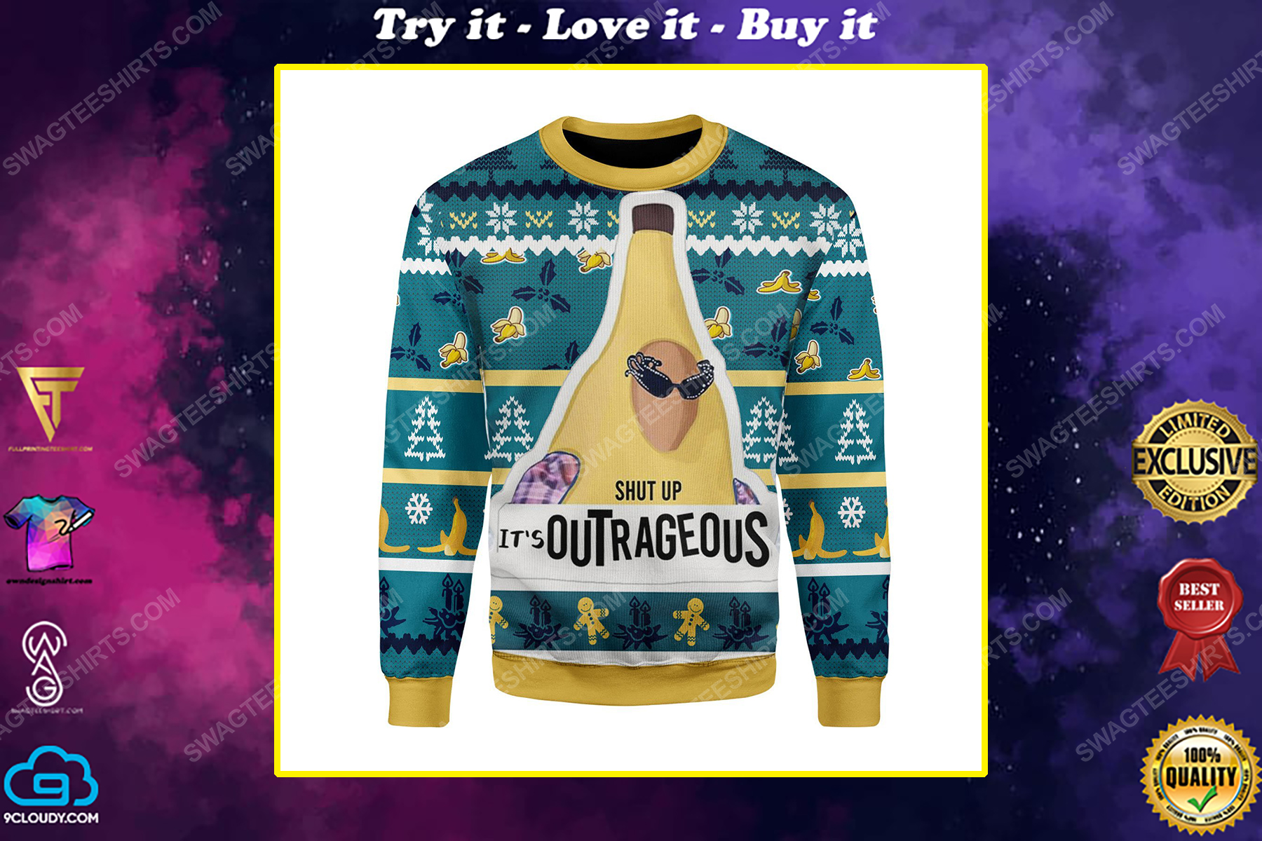 Banana liam payne shut up it's outrageous ugly christmas sweater
